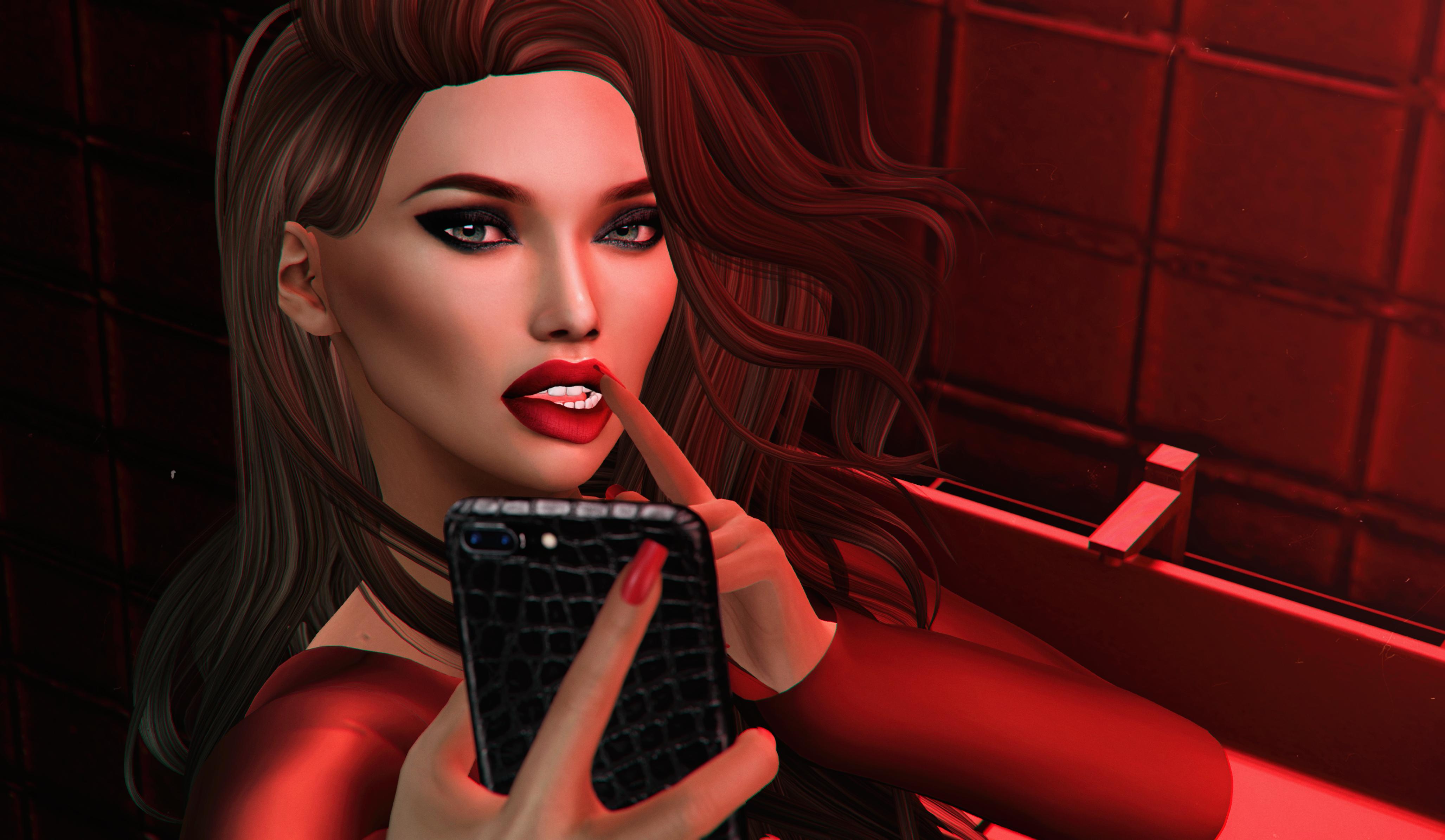 Red Bathroom selfie